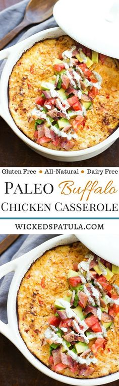 Paleo Buffalo Chicken Casserole - An easy weeknight healthy dinner! Who ever thought a low-carb casserole didn't exist?! | wickedspatula.com