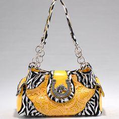 Women's Zebra Print Fashion Handbag w Western Horse Theme Ornament Yellow | eBay