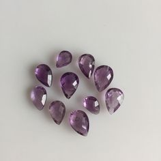 29 CT 10PC NATURAL AMETHYST PEAR BRIOLETTE CUT PURPLE LOOSE MIX LOT GEMSTONES  #ROUNDSNROSES Amethyst Quartz, Pear, Stud Earrings, Gemstones, Purple, Natural, Jewelry, Jewlery, Gems