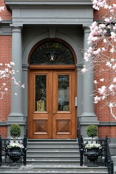 TheFullerView - Commonwealth Avenue by david fuller Entry Stairs, Entry Hallway, House Entrance, Entrance Doors, Entrance Design, Front Door Planters, Portal, Building Front, House Building