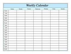 weekly calendar template printable