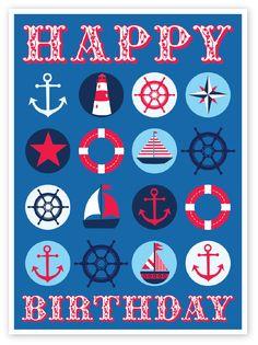 Nautical themed boys birthday card