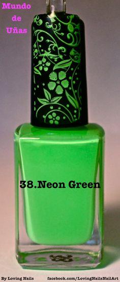 38.Neon Green  By Loving Nails-Nail Art www.mundodeunas.com