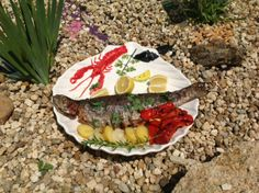 Grillled fresh trout with grilled potatoes....