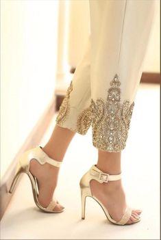 Gold jamavaar cigarette trousers with diamante embroidery. --Gold jamavaar cigarette trousers with diamante embroidery. – Gold jamavaar cigarette trousers with diamante embroidery. Cigarette Trousers, Cigarette Pants Pakistani, Indian Bridal Fashion, Pakistani Outfits, Pakistani Clothing, Mode Hijab, Indian Designer Wear, Mode Inspiration, Bollywood Fashion