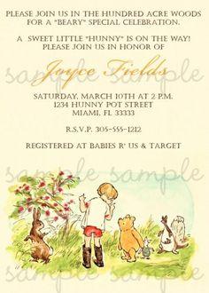Clic Winnie The Pooh Invitation Invitations Baby Showers Showershower Partyhandmade