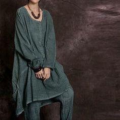 9d9f1db493 Sand Washed Cotton Linen Drop Waist Dress