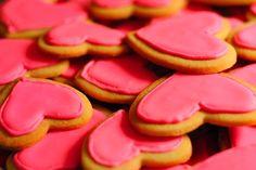 Pink biscuits, hearts