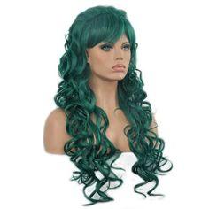 Cosplay pruik lang groen haar met losse krullen