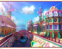 Yumeiro Venezia by owen-c on DeviantArt Fantasy Town, Fantasy Castle, Falls Church, City Wallpaper, Colorful Wallpaper, Colourful Buildings, City Scene, Illusion Art, Desktop Pictures