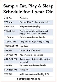 Every child is different, but its nice to see a sample eat, play and sleep schedule to get an idea! Here is a sample baby schedule for one year old toddler. #babysleepsideas