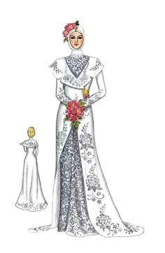 25 Ideas Fashion Drawing Dresses Wedding Dressses For 2019 Illustration Mode, Fashion Illustration Sketches, Fashion Sketches, Muslimah Wedding Dress, Muslim Wedding Dresses, Kebaya Muslim, Muslim Fashion, Hijab Fashion, Gaun Dress