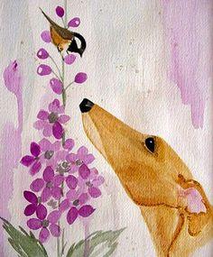 Fawn Greyhound With Chickadee by Jennifer Howard Art