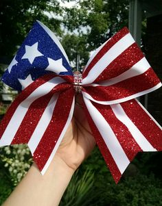 American Flag Cheer bow, Forth of July Cheer bow, red white and blue cheer bow…