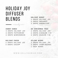 Diffuser Blends using doTERRA's Holiday Joy Blend