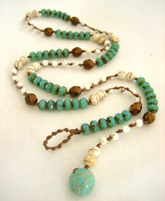 Knotted Necklace Turquoise Picasso Ivory & Copper by KrystenDesign, $53.00