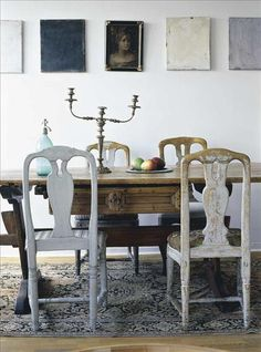 Below: Dining room section with Gustavian chairs and antique table from nk. Also candelabra and Kelim carpet is ancient. All boards, except the French portrait in the middle, are painted by Bodil Hedlund. Dining Room Design, Dining Area, Dining Table, Mismatched Dining Chairs, Table And Chairs, Shabby, Swedish Interiors, Swedish Design, Swedish Style