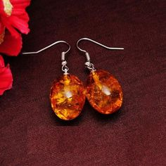 Big Amber Drop Dangle Earrings  *High quality Amber stone used *Perfect for young beautiful girl   ₹280.00 INR