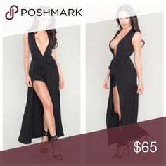 Maxi Romper Features plunging neckline and flowy maxi overlay with a front slit   Self-tie waist Concealed zipper with hook/eye closure Poly/ nylon Dresses Maxi