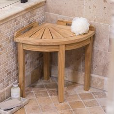 Furnish your naturally designed bathroom with a comfortable shower seat: the Belham Living Teak Corner Shower Stool . Lazy Susan, Corner Shower Seat, Corner Bench With Storage, Blogger Home, Vintage Sideboard, Diy Bathroom Decor, Cool Diy Projects, Teak Wood, Decoration