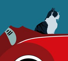 My dream Volkswagen cabrio with a happy afghan hound and a posh cat.   Artwork copyright © 2010 Sebastiano Ranchetti.