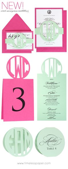 Circle Monogram Invitations, Table Numbers, Menus, & Place Cards by Timeless Paper   www.timelesspaper.com #wedding #lasercut #mint