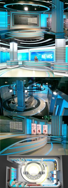 couldnt we have something that could run a camera truck on the ceiling like this. Tv Set Design, Stage Set Design, Booth Design, Plateau Tv, Virtual Studio, Tv Sets, Tv Decor, News Studio, Scenic Design