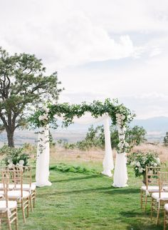 Romantic draped ceremony arch: http://www.stylemepretty.com/2016/01/19/elegant-traditional-scottish-wedding-in-colorado/   Photography: Connie Whitlock - http://conniewhitlockphoto.com/