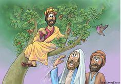 Luke 19 - Zacchaeus the tax collector - Scene - Who, me? Gospel Bible, Gospel Of Luke, Bible Cartoon, Zacchaeus, Bible Stories, The Collector, Scene, Fictional Characters, Fig Tree