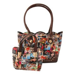 Brown Obama Magazine Print Glossy Vegan Leather Handbag Featuring Gold Stud and Wavy Edged Detail. Mini Bag measures x inches Color Brown Size x x inches Material Faux Leather Tote Handbags, Leather Handbags, Print Magazine, Michelle Obama, Gold Studs, Mini Bag, Vegan Leather, Diaper Bag, Shoulder Strap