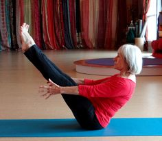 Boat pose is a strong abdominal strengthener. You can vary this by bending your knees or placing your hands behind your knees. It's great for building core strength, and if you fall, it's not so far to go.