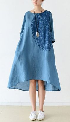 Blue bracelet sleeve linen dresses maternity dress oversized lined This dress is made of cotton linen fabric, soft and breathy, suitable for summer, so loose dresses to make you comfortable all the time.