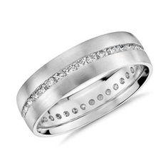 Channel-Set Diamond Eternity Ring in White Gold Thin Diamond Wedding Band, Platinum Wedding Rings, Diamond Cluster Engagement Ring, Eternity Ring Diamond, Shop Engagement Rings, Diamond Rings, Solitaire Engagement, Eternity Rings, Engagement Ideas