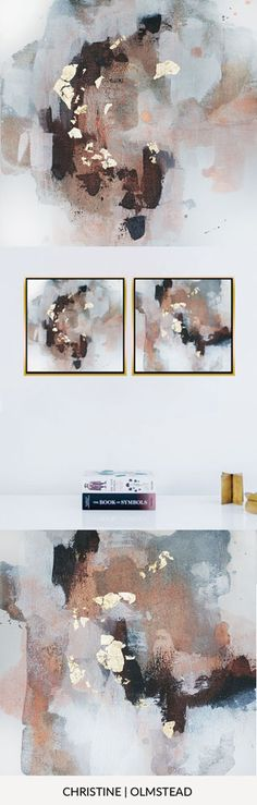 """'Uncertain Future', 12""""x12"""" is an original work of art in acrylic and gold leaf on canvas. This painting is perfect to add to a gallery wall or as a diptych. Blacks, grey, white, gold, and peachy copper tones mingle together to create peace. by Christine Olmstead #abstractart #interiordesignideas #minimal #gallerywall"""