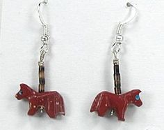 Native American Horse Fetish Earrings by Hector Goodluck Navajo of Sterling Silver Turquoise pipestone agate dolomite marble