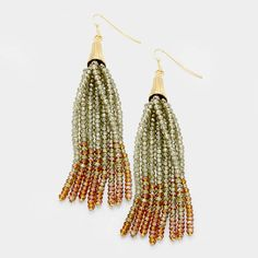 Olive Green & Gold Ombre Faceted Glass Beaded Tassel Earrings