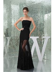 Formal Evening Dress Trumpet / Mermaid Strapless Floor-length Lace / Tulle with Bow(s) / Lace / Sash / Ribbon 4951088 2017 – $99.99