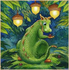 Randal Spangler - another artist whose art is so whimsical. I adore his stuff. Dragon Cat, Funny Dragon, Dragon Manga, Green Dragon, Magical Creatures, Fantasy Creatures, Dragon's Lair, Dragon Artwork, Randal