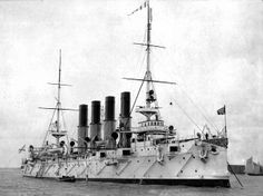 Fleet Protected Cruiser Varyag. Built in the USA for the Imperial Russian Fleet in1898. Scuttled in 1904 at the beginning of the Russo-Japanese war of 1904-1905. Refloated and used by the Japanese as a training ship for a dozen or so years until they sold it back to the Russians. Scrapped in place when it ran aground on its way for a refit. Famous for its failed attempt to break out of Incheon Harbor.