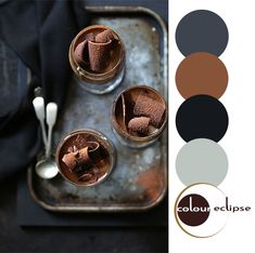 chocolate panna cotta with color palette, blue black and brown color palette, dark color combinations, moody colors