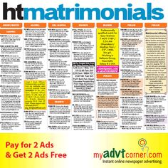 Publish Bride or Groom Classified Advertisement in Hindustan Times Newspaper at Cost Effective Rates for Delhi, Mumbai, Chennai, Patna, Bangalore, Ahmedabad and Other location across India.  Book HT Matrimonial Advertisement Online via myadvtcorner: http://www.myadvtcorner.com/category-matrimonial
