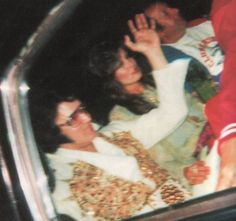 Elvis on his way to preform his last concert at the Market Square Arena in Indianapolis on June 26, 1977 (seated with him is Ginger Alden)
