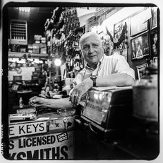 Raymond Herskovits inside his tiny storefront, Mel's Locksmiths, at 4 East 170th Street. Raymond is a third-generation locksmith; his grandfather first opened the shop in 1932. He no longer resides in the Bronx but commutes six days a week from New Jersey to open his shop.