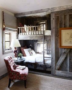"""Love this look, reminds me of the homes I envisioned when I read """"Witch of Blackbird Pond"""" Now if only that wall beside the bunk beds were a bookshelf"""