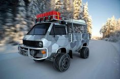 Custom VW / Transporter Pickup with Camouflage Paint and Snow Chains Volkswagen Bus, T3 Vw, Transporter T3, Volkswagen Transporter, Bus Camper, Ducati, Combi Wv, Vw Vanagon, Kombi Home
