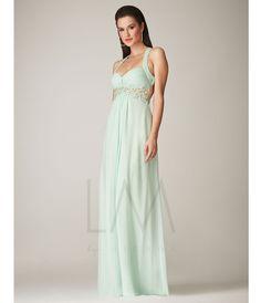 Mignon Mint Chiffon Empire Waist Open Back #Prom Dress #uniqueprom
