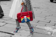 We love #brightcolours especially these #primarycolours which are inspiring the likes of #moschino #streetstyle #accessoryo #bags #shoes. Get 15% off! Use #discountcode: PIN15 at the #accessoryo checkout!