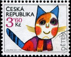 Children's Day postage stamp, Czech Republic 1995, designed by Czech artist Josef Palecek