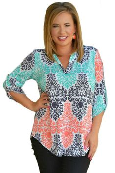 Now Available on chicloth.com: Chicloth Green Co.... Check it out here:  http://chicloth.com/products/chicloth-green-coral-retro-print-quarter-sleeve-blouse?utm_campaign=social_autopilot&utm_source=pin&utm_medium=pin