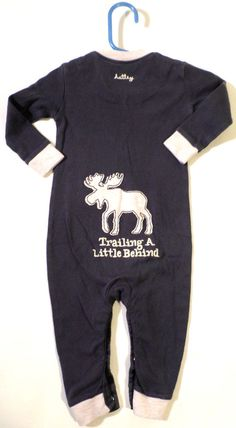 Baby Boys Size 6-12m Hatley Moose One Piece Pajama Romper, Missing 1 Snap